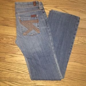 "7 for all mankind "" FLYNT"" jeans in light wash."